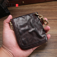AETOO Retro do old men leather small money Baotou layer cowhide Money Clip multifunctional ultra thin mini wallet