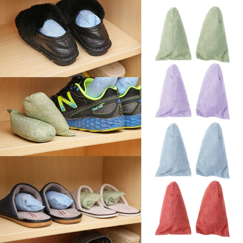 2Pcs Shoe Deodorant Dryer Deodorizer Bamboo Charcoal Bag For Shoes Closet Drawer