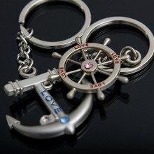 Fashion Love Gift Stylish Anchor Rudder Rhinestone Keychain Couple key chain Key