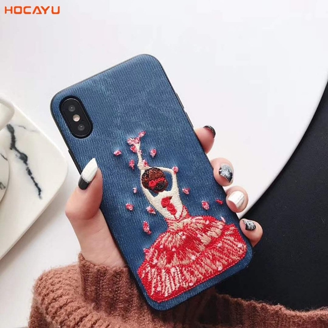 new products d2572 d35a3 HOCAYU Cool Embroidery Girl Pattern Jean 360 Protect Cell Phone Accessories  Cover for Iphone X Case Handphone Cases Anti Choque-in Half-wrapped Case ...