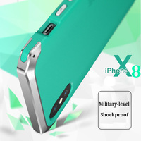 For Apple Iphone 8 Case Cover Metal Silicone PC Military Grade Shockproof Shell For IPhone Cover
