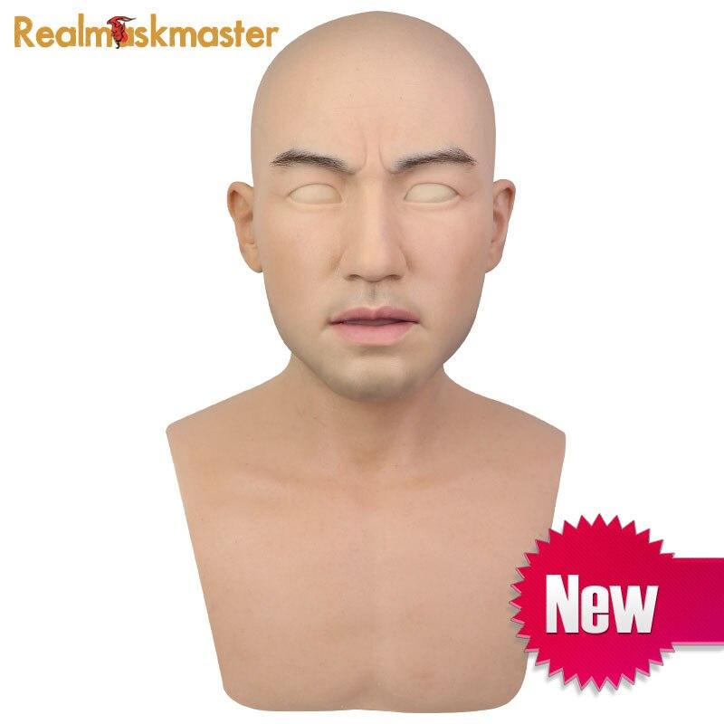 Realmaskmaster halloween máscara de silicone realista artificial Masculino adultos látex rosto cheio de máscaras do partido do Disfarce Adereços Cosplay