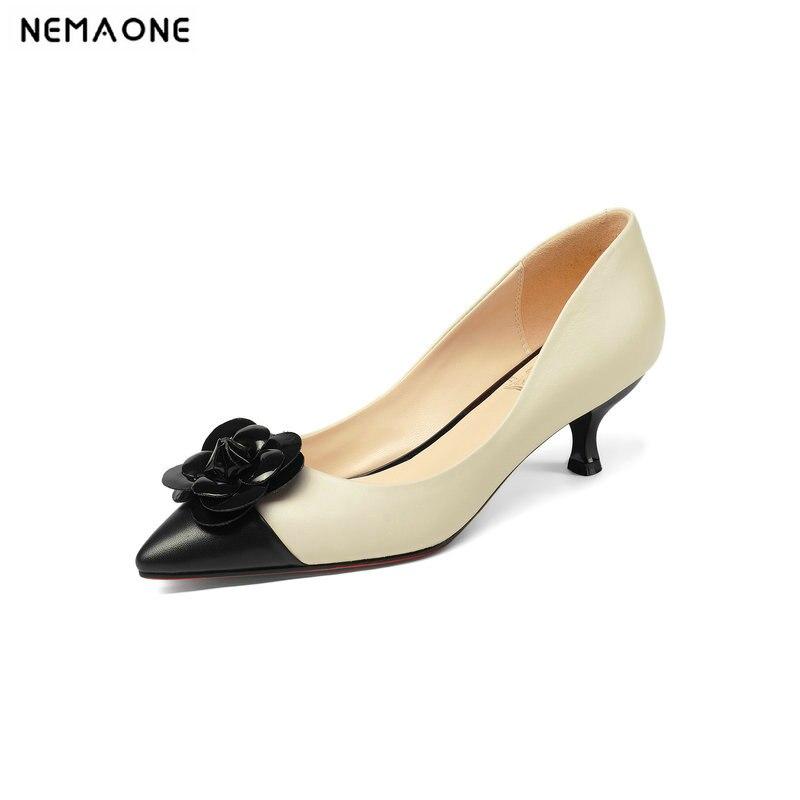 Superestrella lindo negro albaricoque mujeres bombas zapatos de cuero genuino Stiletto tacones altos 5 cm marca de noche talla grande 43-in Zapatos de tacón de mujer from zapatos    1