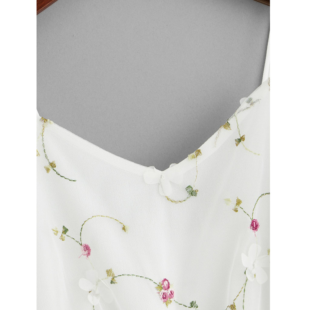 Feitong Mesh Borduurwerk Crop Top Vrouwen Mouwloze Boog-knoop Vest Tank Shirt Blusa Cami Tops Vrouwelijke V-hals Wit Tank top Kleding