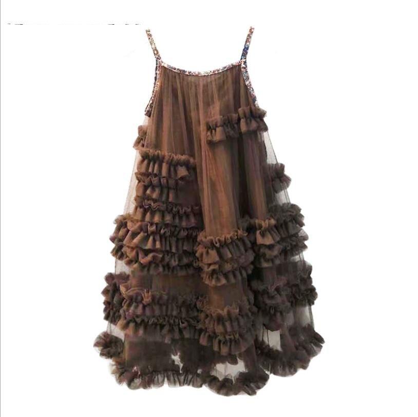 Bébé filles robe d'été nouveau style de l'europe fronde de mode robes de princesse pour enfants enfants mignon manches robe robe de soirée ws402 - 5