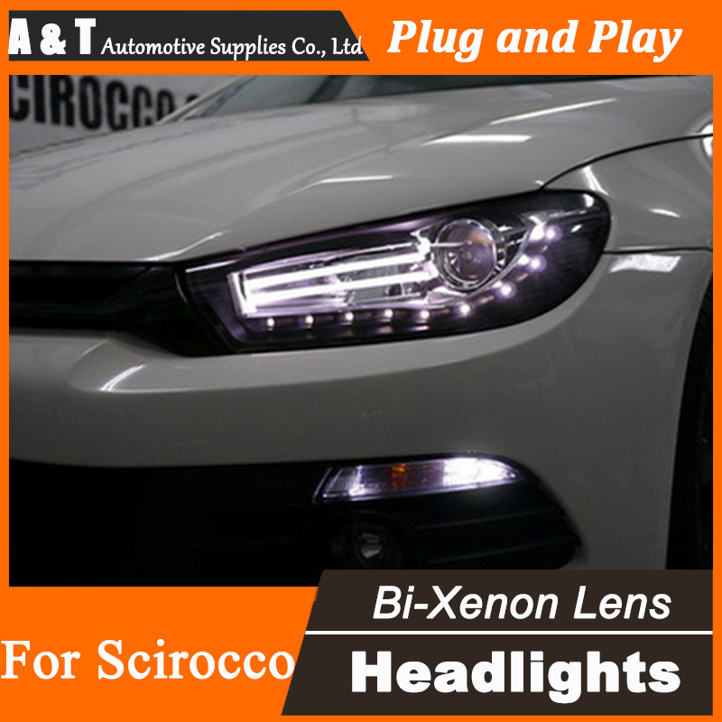 Car Styling for New Arrival Volks Wagen Scirocco LED Headlight DRL Lens Double Beam H7 HID Xenon bi xenon lens  union styling for vw scirocco headlights bi xenon led scirocco headlight drl lens double beam h7 hid car accessories hid kit
