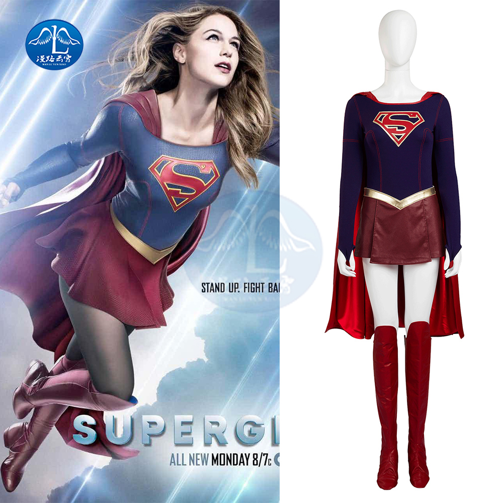 Supergirl Cosplay Costumes Full Set Super Women Sexy Fancy Dress with Boots Cover Cloack Girls Superman Halloween Party  S-2XL