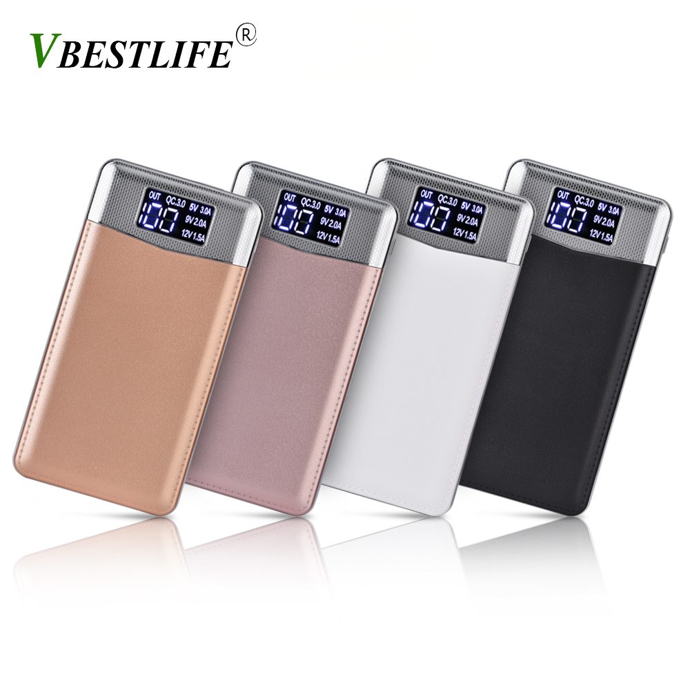 VBESTLIFE DIY Kit Portable Battery Power Bank Box case QC3.0 Fast Charging USB Charger with Type-C & Micro USB Input