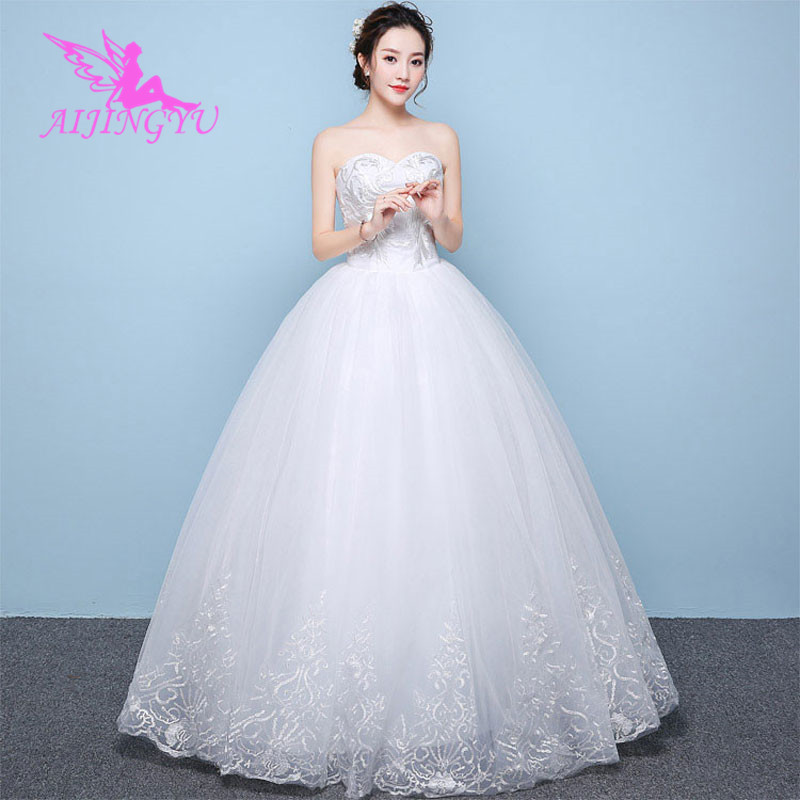 AIJINGYU 2018 girl free shipping new hot selling cheap ball gown lace up back formal bride dresses wedding dress WK571