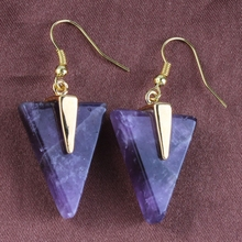 XSM New Trendy Gold Plated Amethyst Stone Triangle Drop Earrings For Women Fashion Jewelry