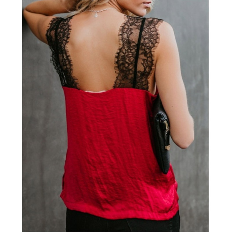 2019 New Women 39 s Fashion T shirt Lace Stitching Solid Color Sleeveless V neck Sexy T shirts Ladies Spring Summer Trend Top W093 in T Shirts from Women 39 s Clothing