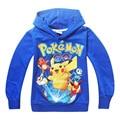Детские мальчики толстовки pokemon рубашка толстовка с капюшоном дети верхней одежды пуловер печати детская одежда синий Размер 4 5 6 7 8 лет