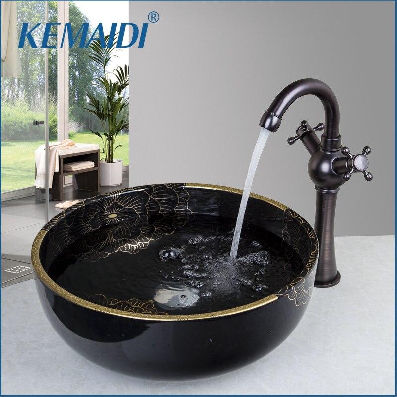 Éviers ronds de cuvette de peinture/vasques de récipient avec le lavabo en céramique de lavabo et le robinet ensemble de robinet 46038669-1