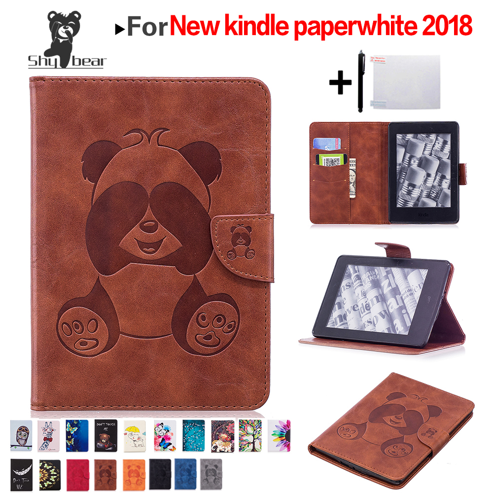 Cartoon Case For Amazon Kindle Paperwhite 4 Ereader For 2018 New Paperwhite E-book Stand Cover Skin + Film + Stylus