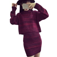 Elegant Two Piece Set Women Chic Knitted Sweater Femme O Neck Autumn Slim Full Sleeve Pullover