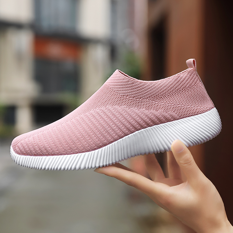2019 Women Spring Summer Slip On Flat Shoes Plus Size 35 43 Loafers Knitting Sock Sneakers Female Leisure Flats Fashion Espadril in Women 39 s Flats from Shoes