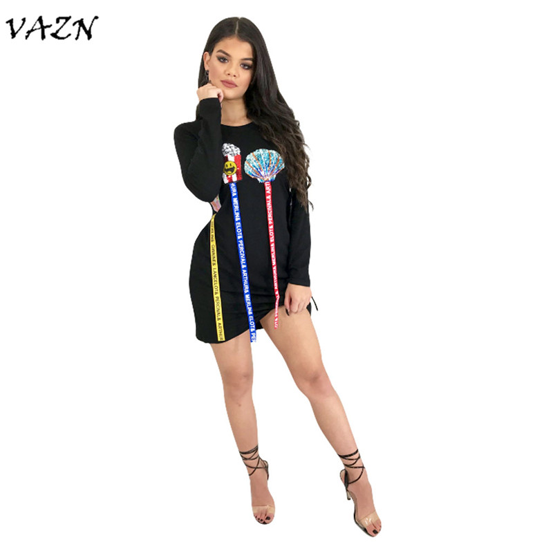 VAZN New Arrive Best Quality 2018 Summer Music <font><b>Festival</b></font> <font><b>Sexy</b></font> <font><b>Club</b></font> Women Mini Dress Print Wrist Sleeve Mini Dress 3351 image
