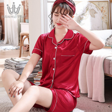 Summer Pajamas Women Silk Satin Pijama Short Sleeve Pyjamas Two Piece Sets Sleepwear Fashion Large Size Nightwear