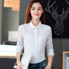 2018 Spring New Cotton Shirt Ladies Plus Size Slim Long Sleeve Button Patchwork Women Blouse Blusas Office Elegant White Shirts