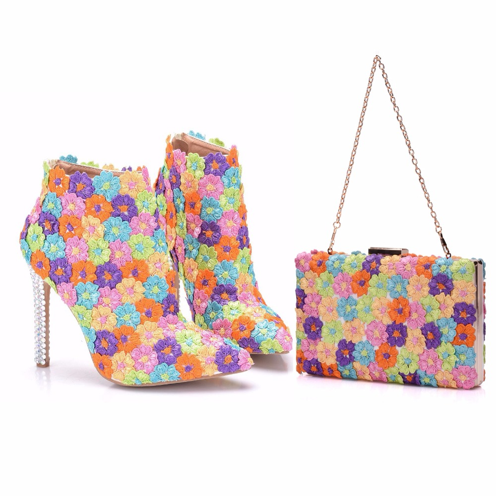 Crystal Queen Multicolor Flower Shining Lace Womens Wedding Shoes Boots Matching bags Clutches High Heels Female Party Shoes crystal queen multicolor flower shining crystal womens flat wedding shoes matching bags clutches flats female lady party shoes