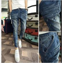 2016 New Fashion Mens Painted Jean Trousers Men Denim Jeans Pants Slim Fit Casual Pants Size 28–34 Free Shipping