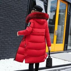 Winter Women's Down Parkas Winter Jacket Big Fur Thick Slim Long Coat Fashion Zipper Hooded Female Long Outerwear C88023L 3