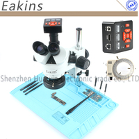 3.5 90X Continues Zoom simul focal Trinocular Stereo Microscope+21MP HDMI Camera Big Base Insulation Mat For PCB Soldering