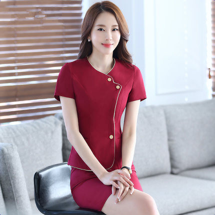 Women wear short sleeved suit Slim beauty salon hotel waiter uniforms overalls tooling