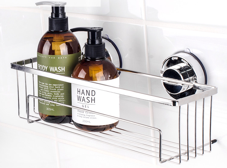Kitchen Bathroom Stainless Steel Shower Storage Basket Caddy Shelf Suction Cup