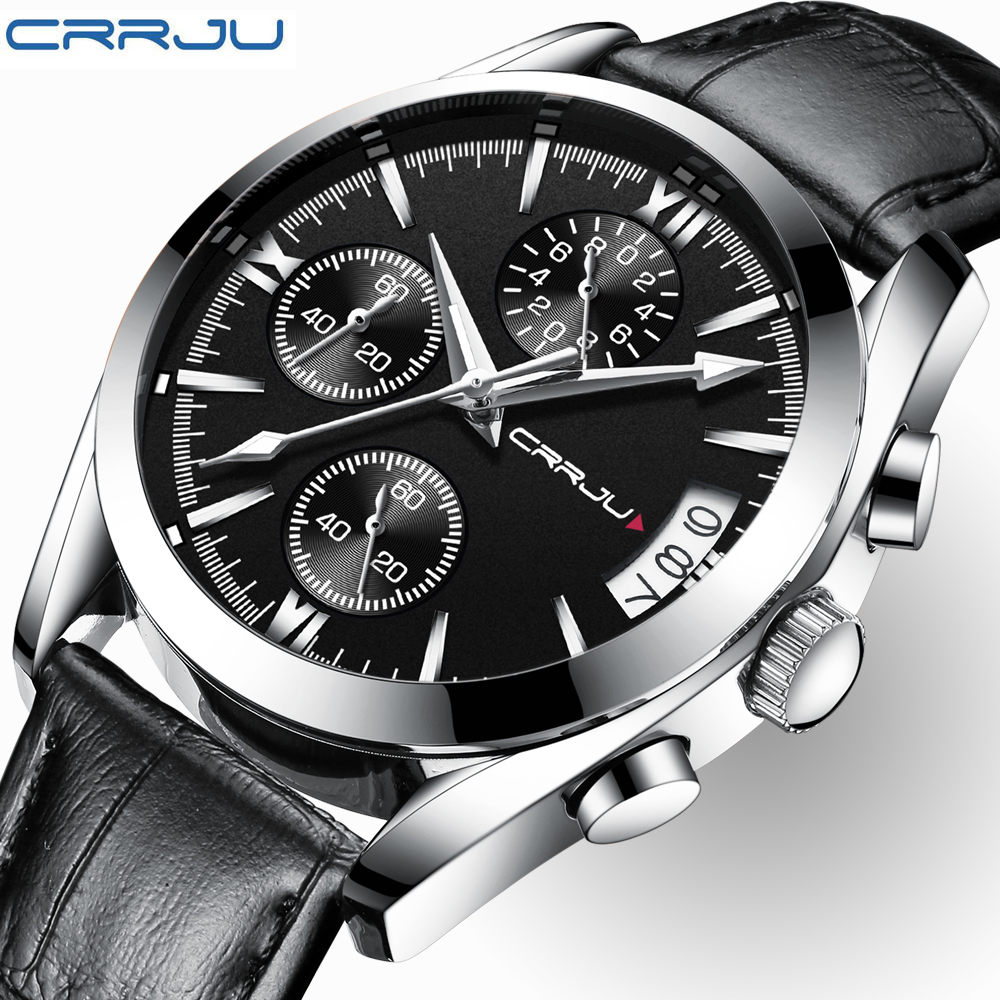 CRRJU Mens Watches Top Brand Luxury Leather Waterproof Sport Quartz Chronograph Military Wrist Watch Men Clock Relogio Masculino