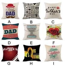 2019 Father's Day Cushion Cover Linen Pillowcases Comfortable Sofa Home Decorative Pillows Housse de Coussin Cojines Pillow Case стоимость