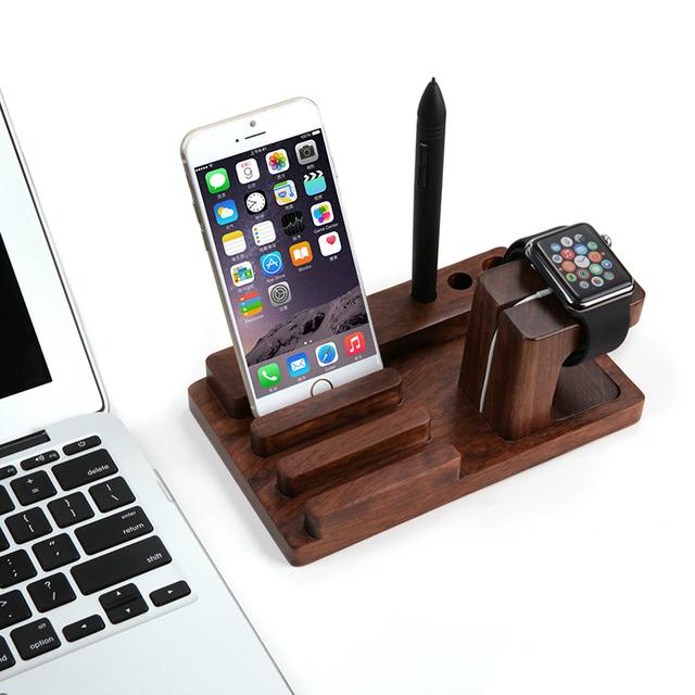 Retro de bambú Natural soporte de carga Dock para Apple reloj para el iPad Mini 2 3 4 aire para el iPhone 5 5S 6 6 S más gradas escritorio titular
