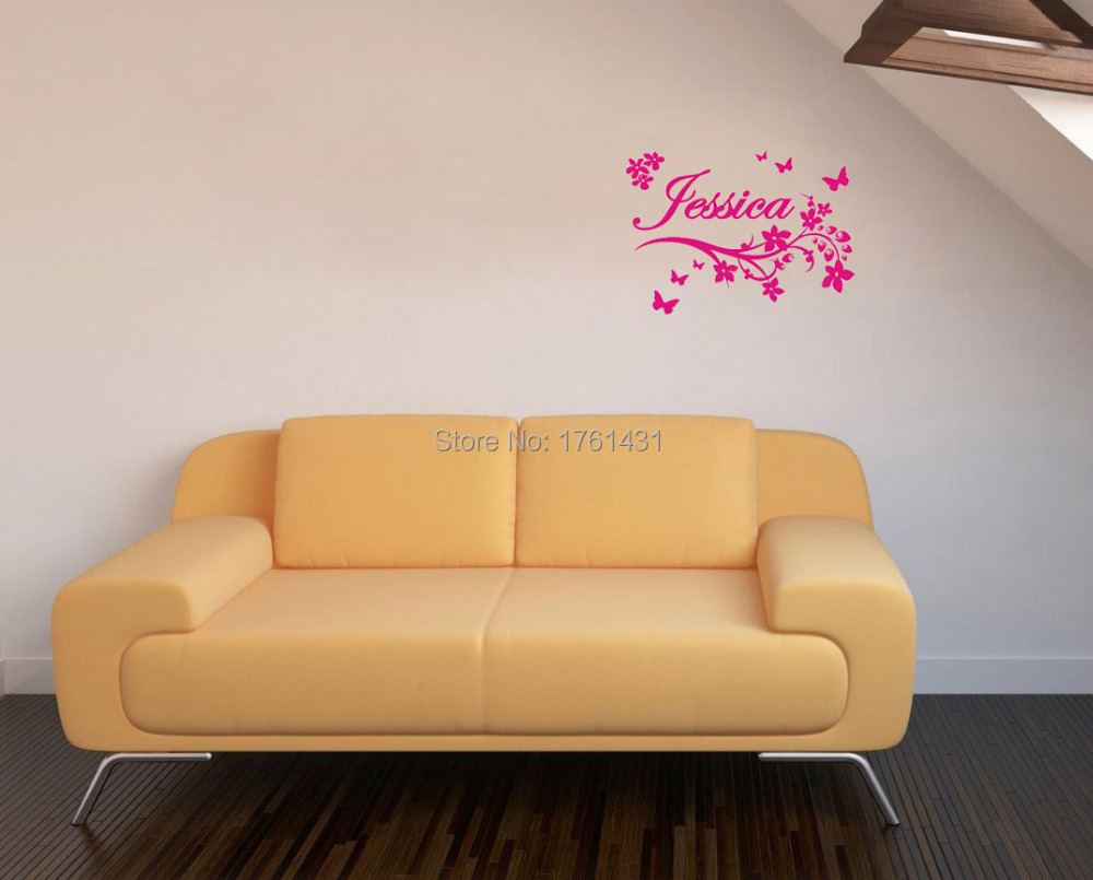 Aliexpress.com : Buy Custom Name Flowers wall sticker Curls ...