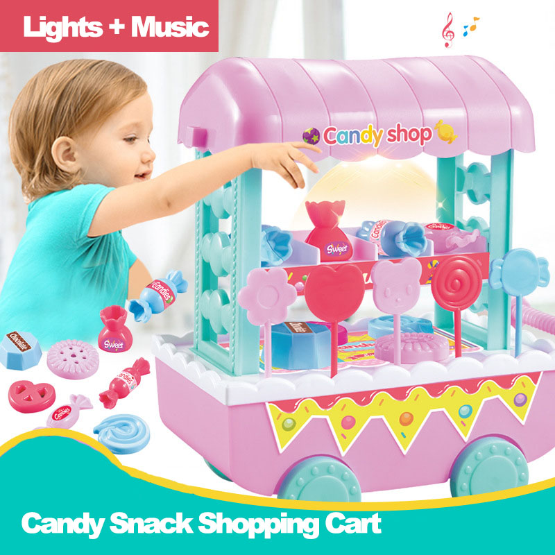 18Pcs Pretend Play MIni DIY Simulation Snack Candy Carts Model Set Luminous Music Educational Toys For Children Kids Girl