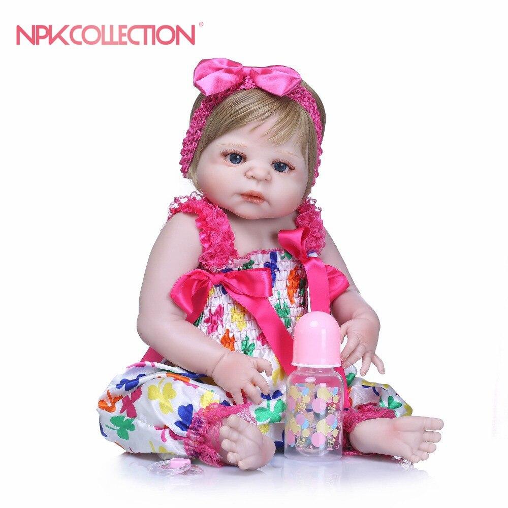 NPKCOLLECTION 46CM Silicone Full Body Reborn Dolls Realistic Handmade Baby Dolls Girl Kids Toy Boneca Model