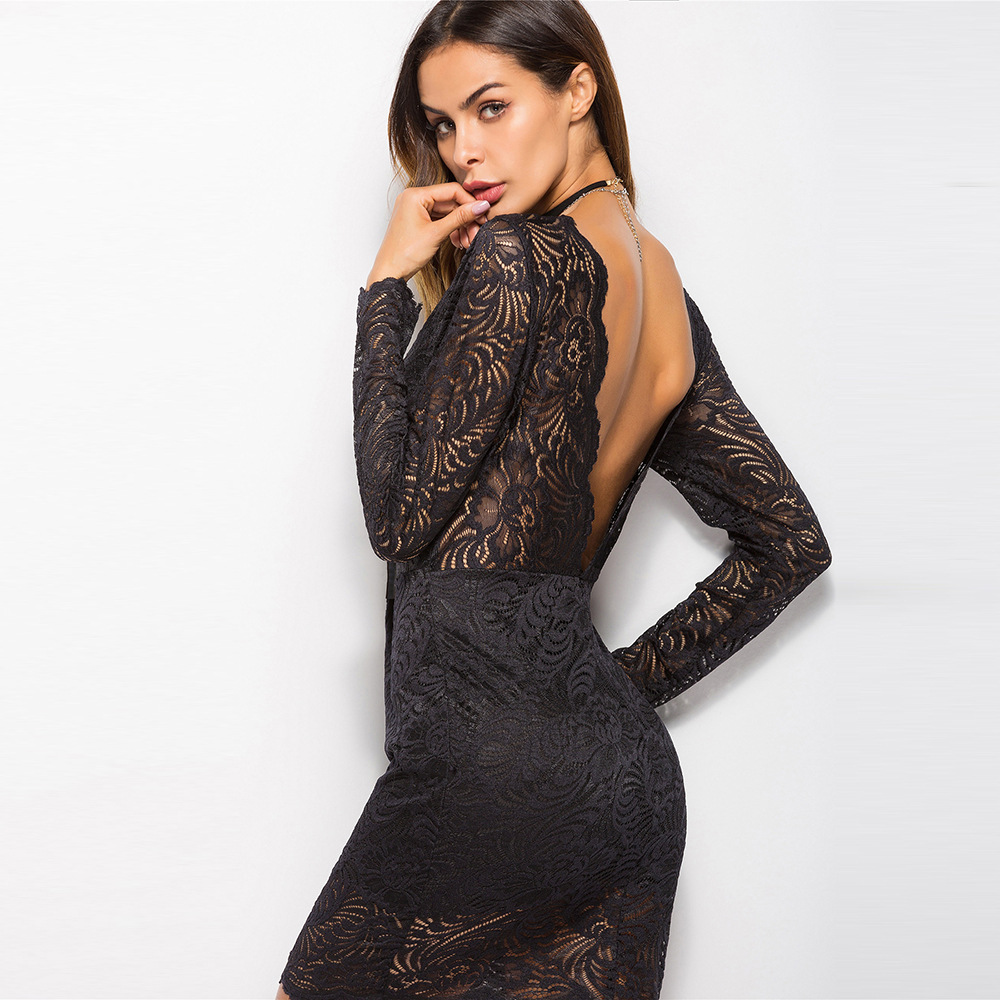 M XXL Larger Size Black Lace Women Dress Autumn 2019 Deep V neck Mini Dress Club Wear for Ladies Party Dress Vestidos Verano in Dresses from Women 39 s Clothing