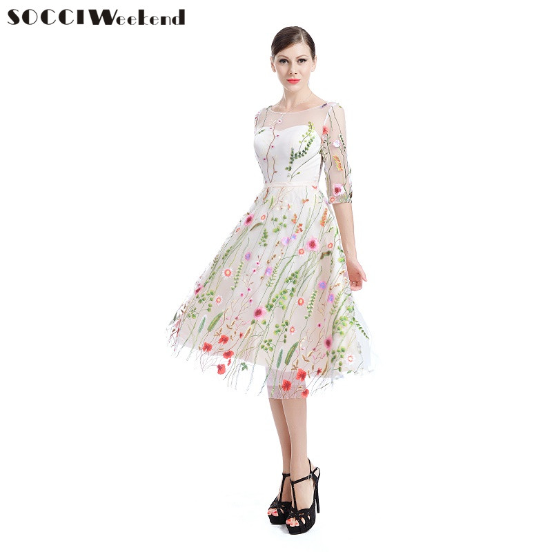SOCCI Weekend Embroidered Lace Cocktail Dresses 2018 For Ladies Vintage Formal Wedding Party Dress Prom Gowns Robe De Cocktail