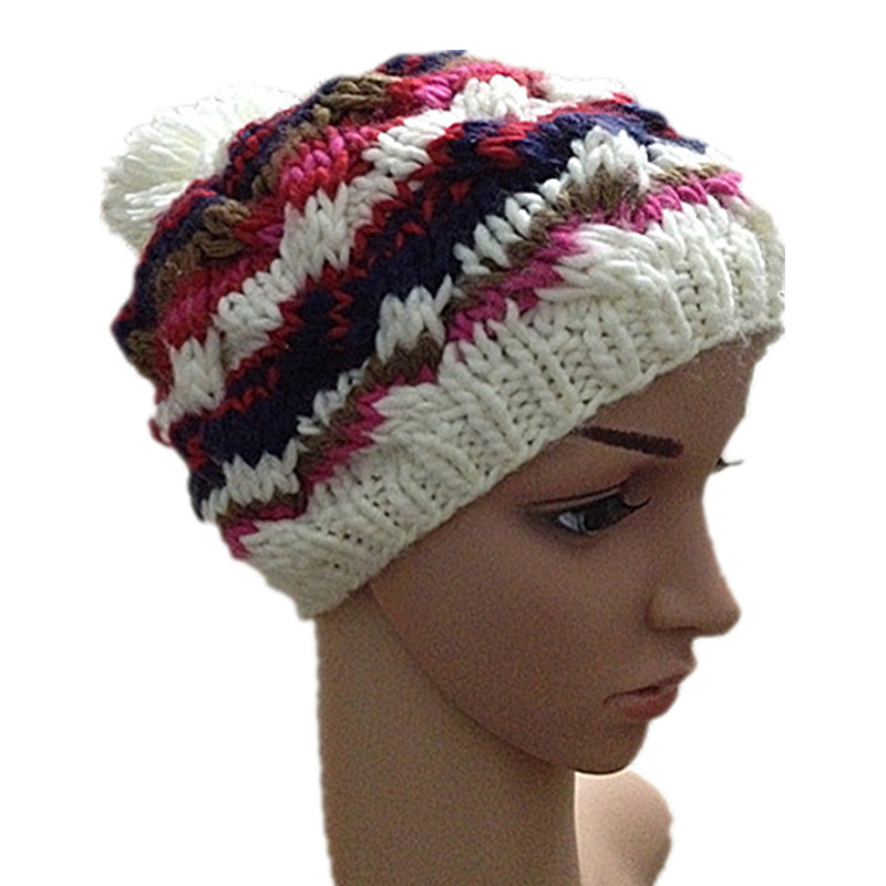 BomHCS Autumn Winter Multicolor Handmade Knitted Hat Women Warm Beanies Cap