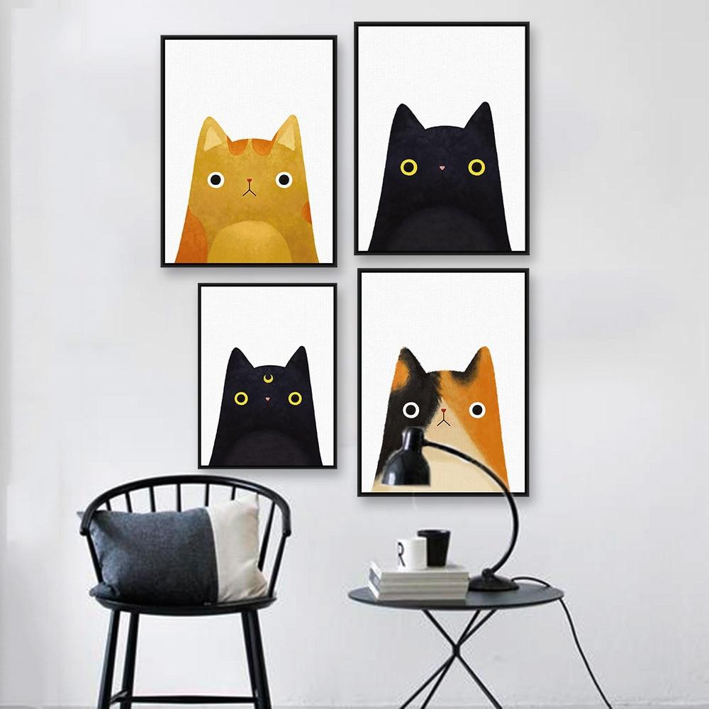 Akvarel Japonská kočičí kočka Zvířecí tvář A4 Velká umělecká reprodukce Plakát Kawaii Nástěnná malba Plátno Bez rámečku Dětský pokoj Domácí Dekor