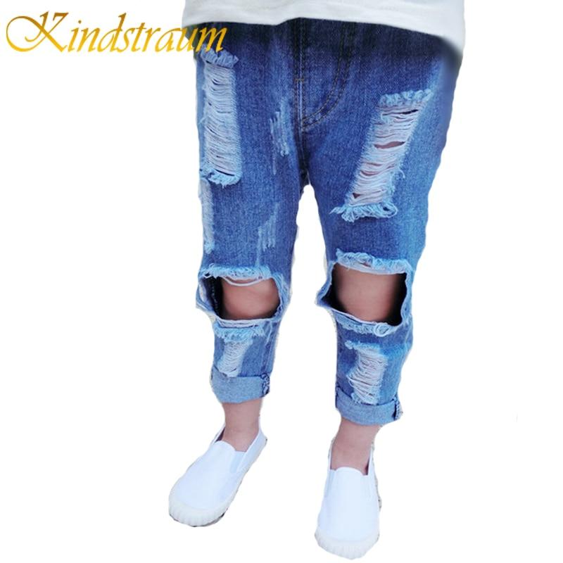 Kindstraum Kids Jeans Girls Boys Ripped Denim Pants For Children Girls Jeans Cotton Fashion Children Trouser