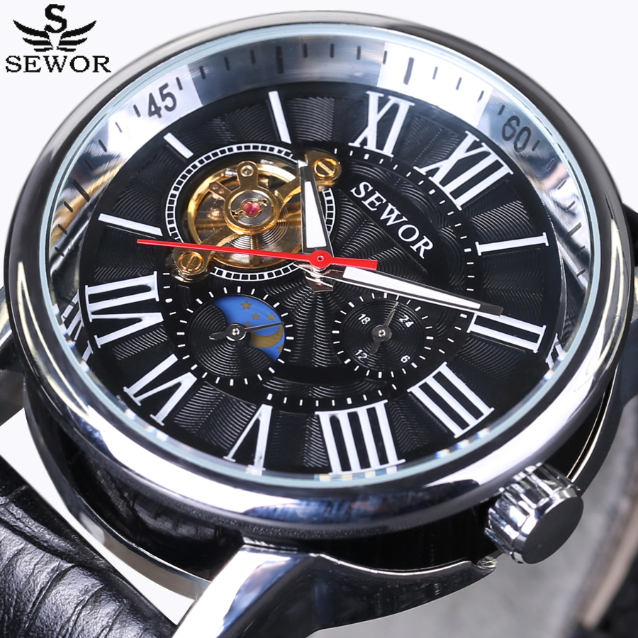 2016 New SEWOR Luxury Top Brand Tourbillon Men Watches Automatic Mechanical Watch big dial Sports Fashion Casual Wrist Watch sewor new arrival luxury brand men watches men s casual automatic mechanical watches diamonds hour stainless steel sports watch