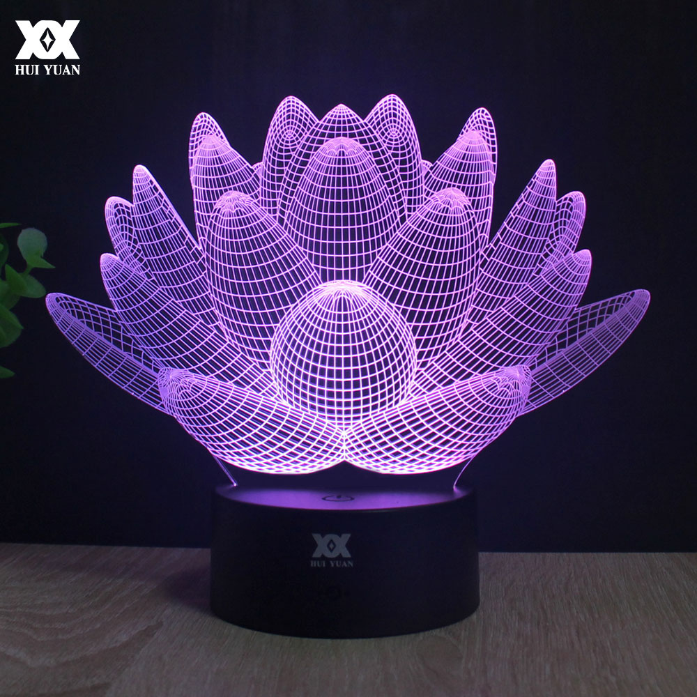Lotus 3D Lamp LED Remote Control Night Light USB Decorative Table Lamp Luminaria Interesting Gift HUI YUAN Brand