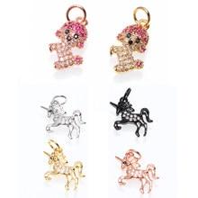 b58c00bd644f Joyería colgante unicornio y perro de cobre Micro Pave CZ caballo colgante  conector encantos Diy para collar de pulsera Accesori.