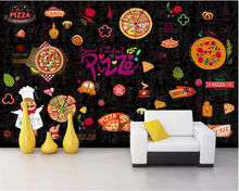 beibehang Custom Personality 3d wallpaper Western restaurant pizza cooking storefront background wall painting