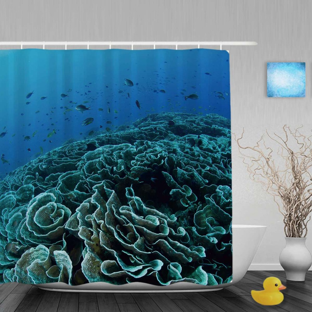 Ocean shower curtain - Corals Fish Decor Bathroom Shower Curtain Cute Ocean Creatures Shower Curtains Waterproof Mildew Polyester Fabric With
