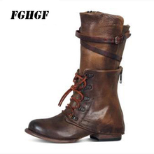 Autumn and winter new products with low heel riding boots personality belt decoration zipper female size 35-43