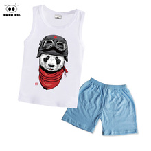 hot deal buy boys clothes summer panda children clothing sets costumes for kids clothes set toddler vest+shorts sport suits wear 2 3 4 5 year