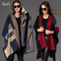New Women Poncho   grid Scarf  personalized Poncho Women's  Knit Shawl   Scarf Poncho