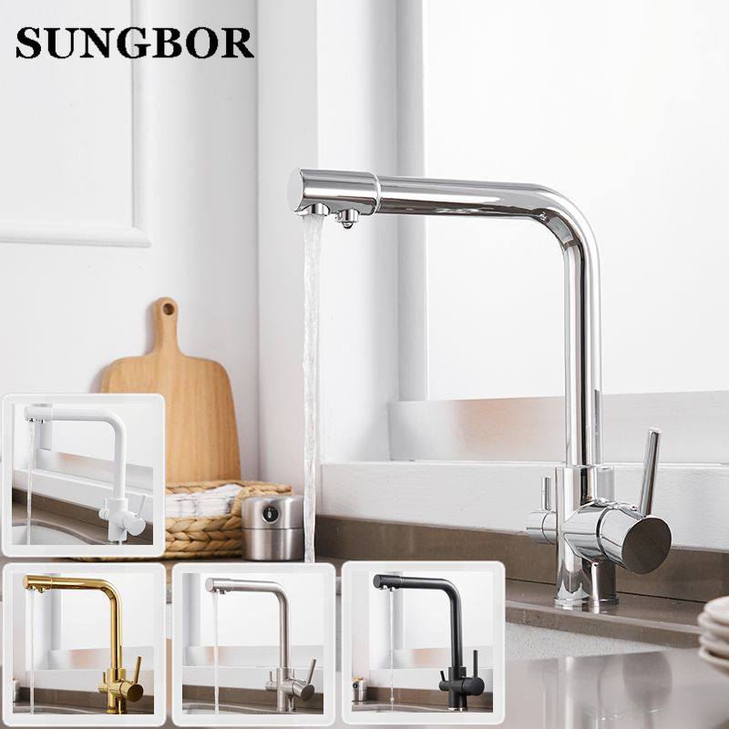 100% Brass Marble Painting Swivel Drinking Water Faucet 3 Way Water Filter Purifier Kitchen Faucets For Sinks Taps CF-9155L