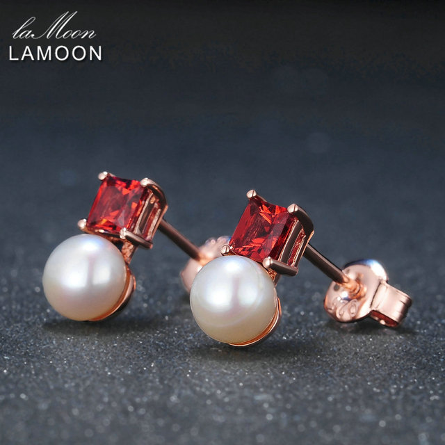LAMOON Simple Style 100% Natural Red Garnet Freshwater Pearl 925 sterling-silver-jewelry  Earring S925 LMEI038